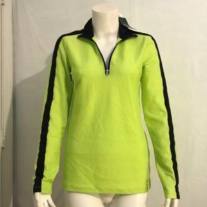 NWT Lauren Ralph Lauren neon green & black zipup